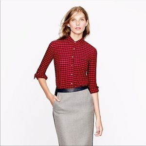 J Crew Crinkle Boy Shirt in Red Check